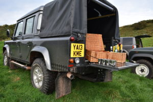 Picnic hamper in back of Land Rover