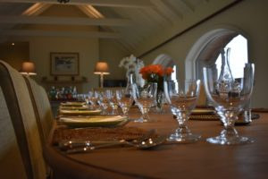 Close-up of dining table set up for lunch