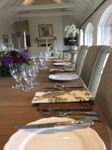 Close-up of dining table set up