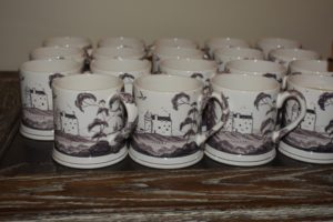 Fenton Tower mugs lined up for morning coffee