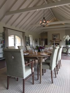 Dining table set out at Fenton Brunt Cottage