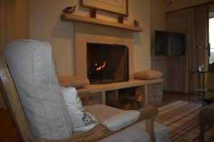 Roaring fire at Fenton Brunt Cottage